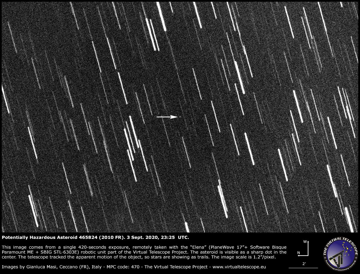 Potentially Hazardous Asteroid (465824) 2010 FR. 3 Sept. 2020