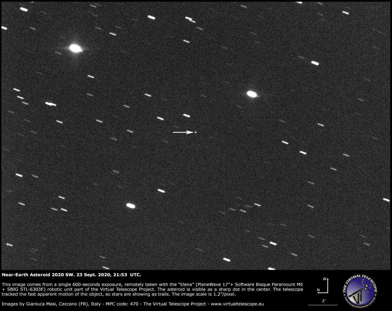 Near-Earth asteroid 2020 SW. 23 Sept. 2020.