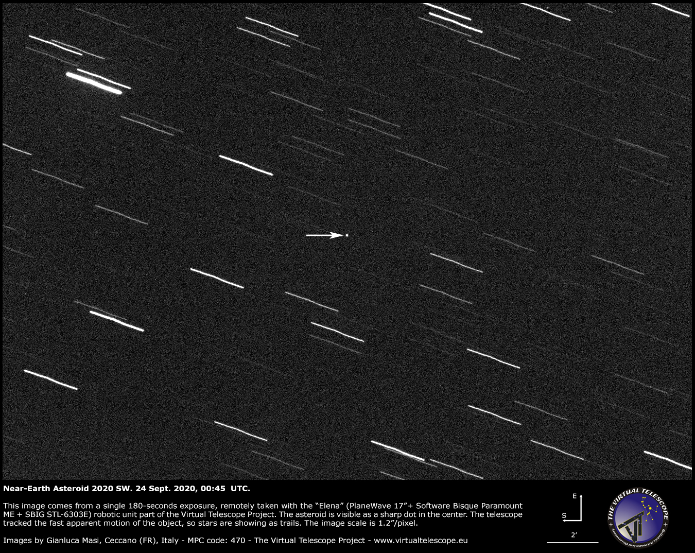 Near-Earth asteroid 2020 SW. 24 Sept. 2020.