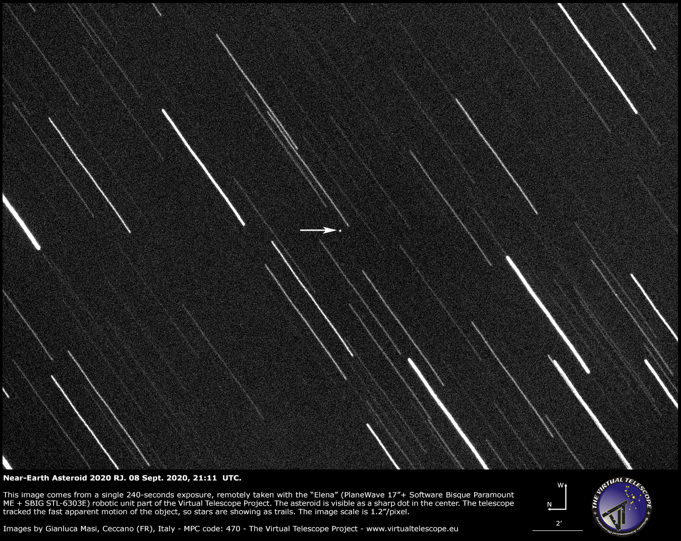 Near-Earth Asteroid 2020 RJ. 8 Sept. 2020.