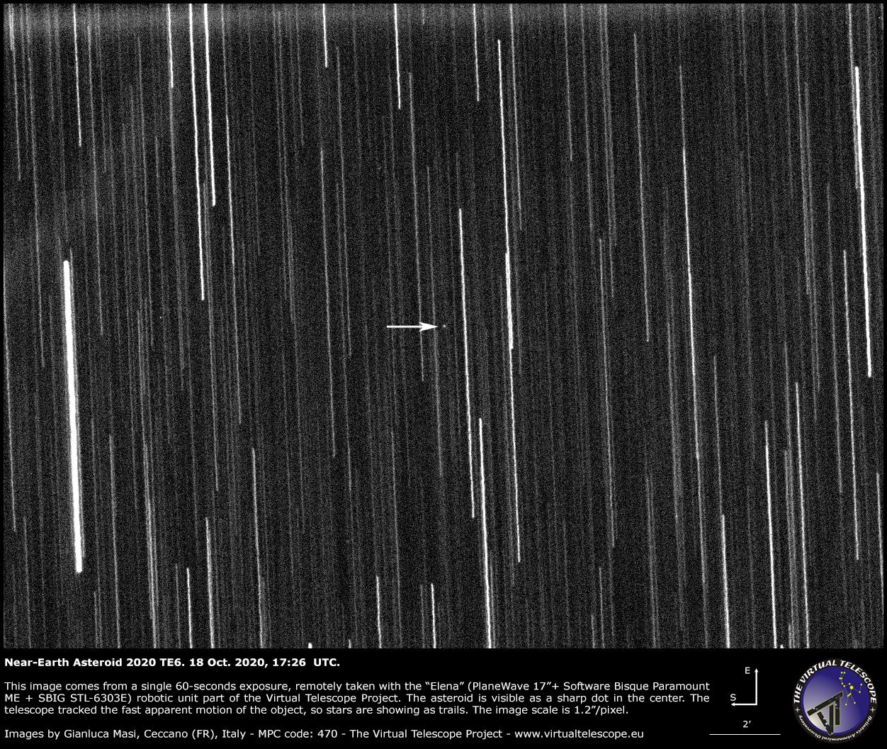 Near-Earth asteroid 2020 TE6. 18 Oct. 2020.