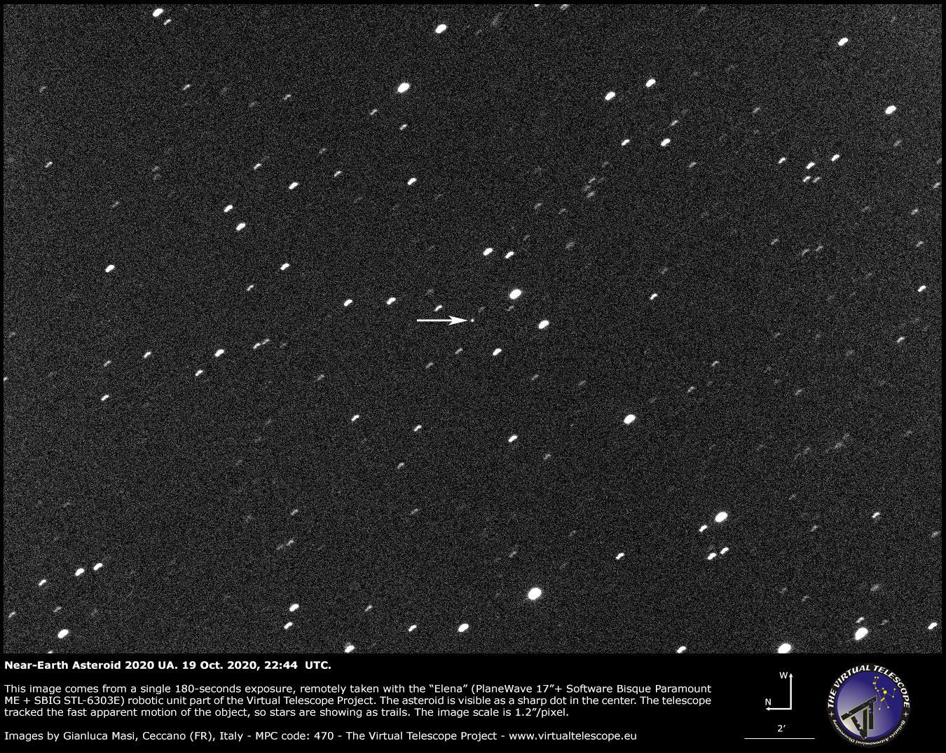 Near-Earth asteroid 2020 UA. 19 Oct. 2020.