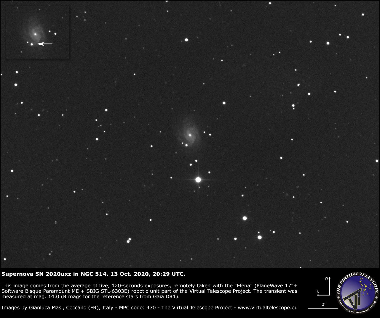 NGC 514 and supernova SN 2020uxz: 13 Oct. 2020.