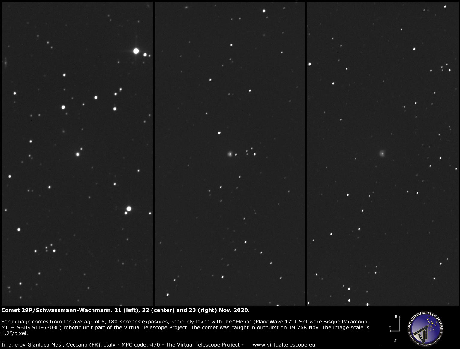 Comet 29P/Schwassmann–Wachmann: 21, 22 and 23 Nov. 2020.