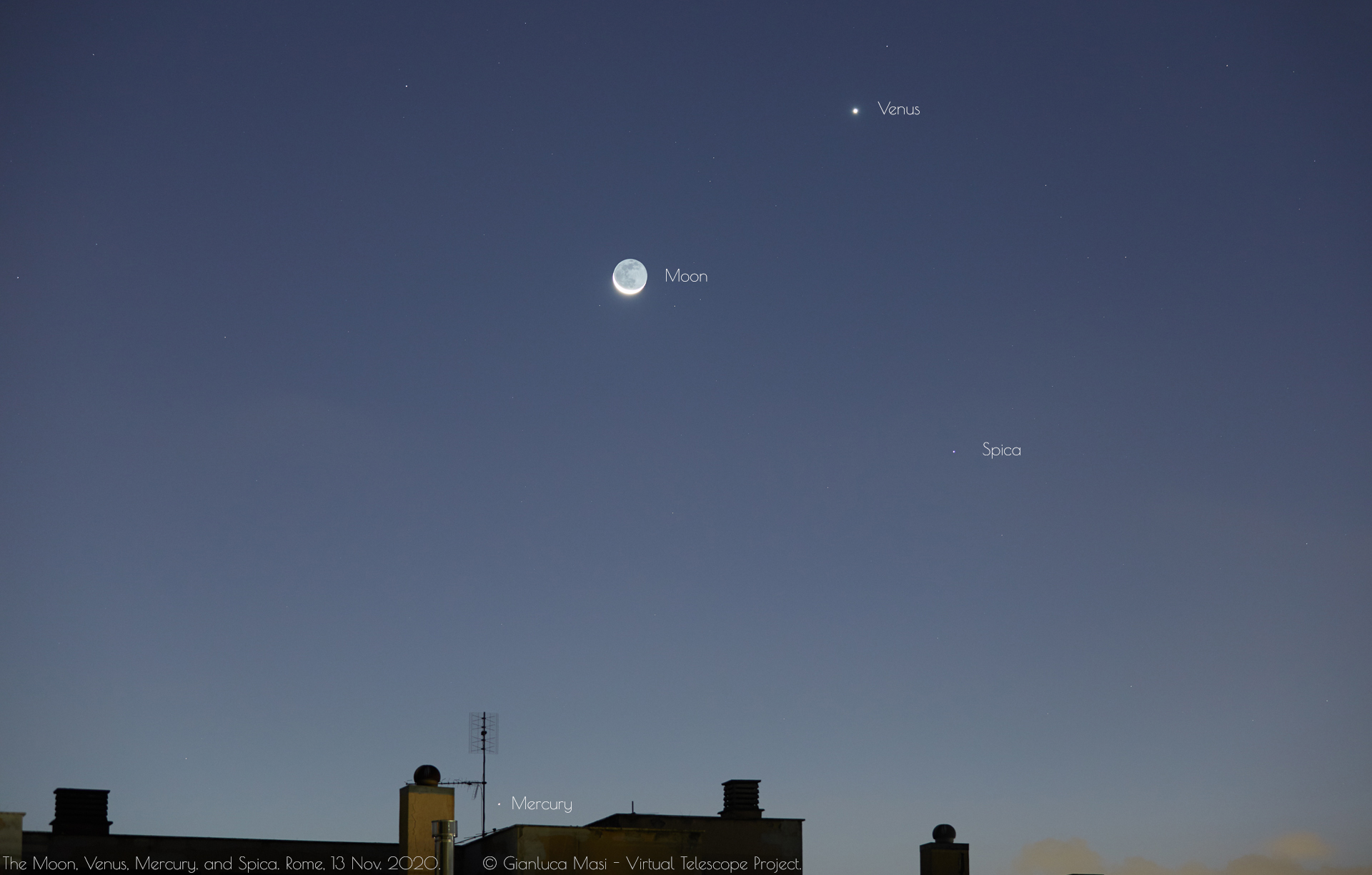 The Moon, Venus and Mercury properly labelled. 13 Nov. 2020.