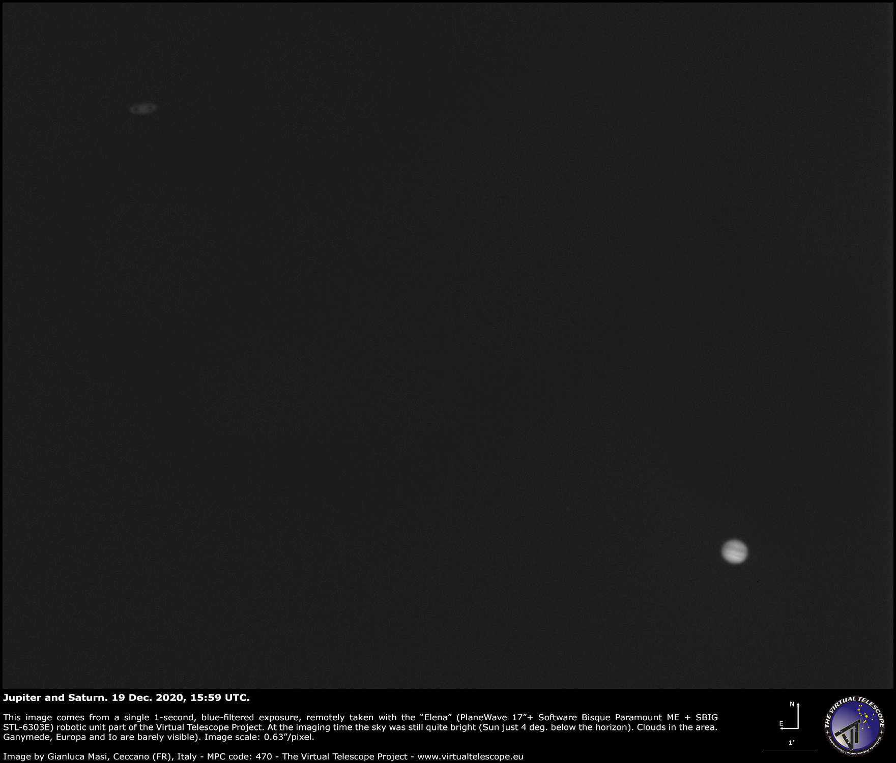 Jupiter and Saturn, about 1/4th of a degree apart. 19 Dec. 2020.