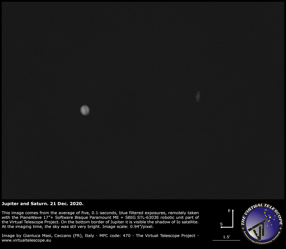 Jupiter and Saturn imaged at the climax of their historic 2020 conjunction. 21 Dec. 2020.