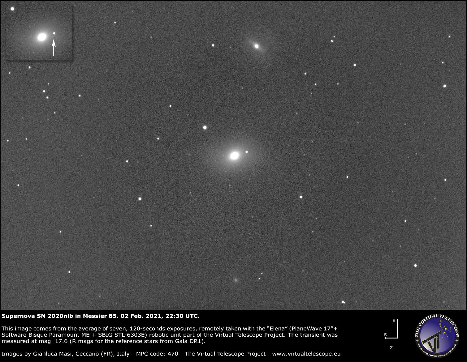 Supernova SN 2020nlb in Messier 85: an image - 02 Feb. 2021.