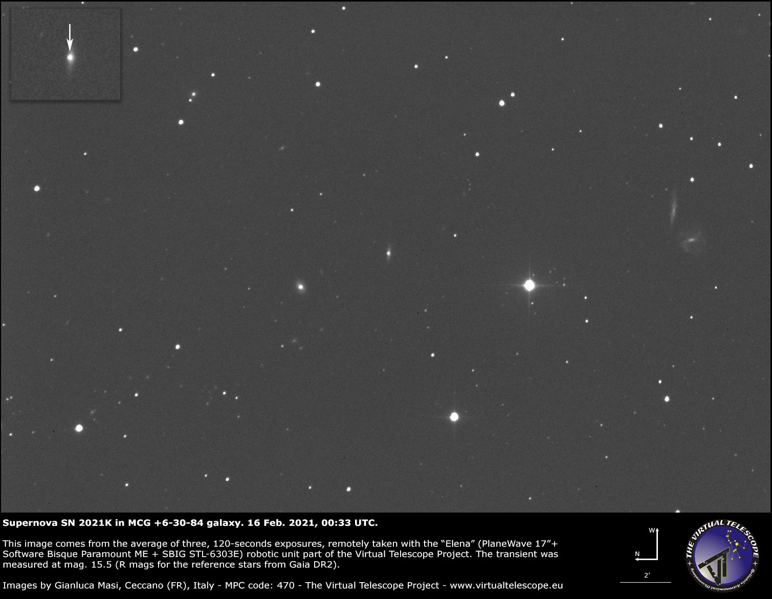 Supernova SN 2021K in MCG +6-30-84 : 16 Feb. 2021.