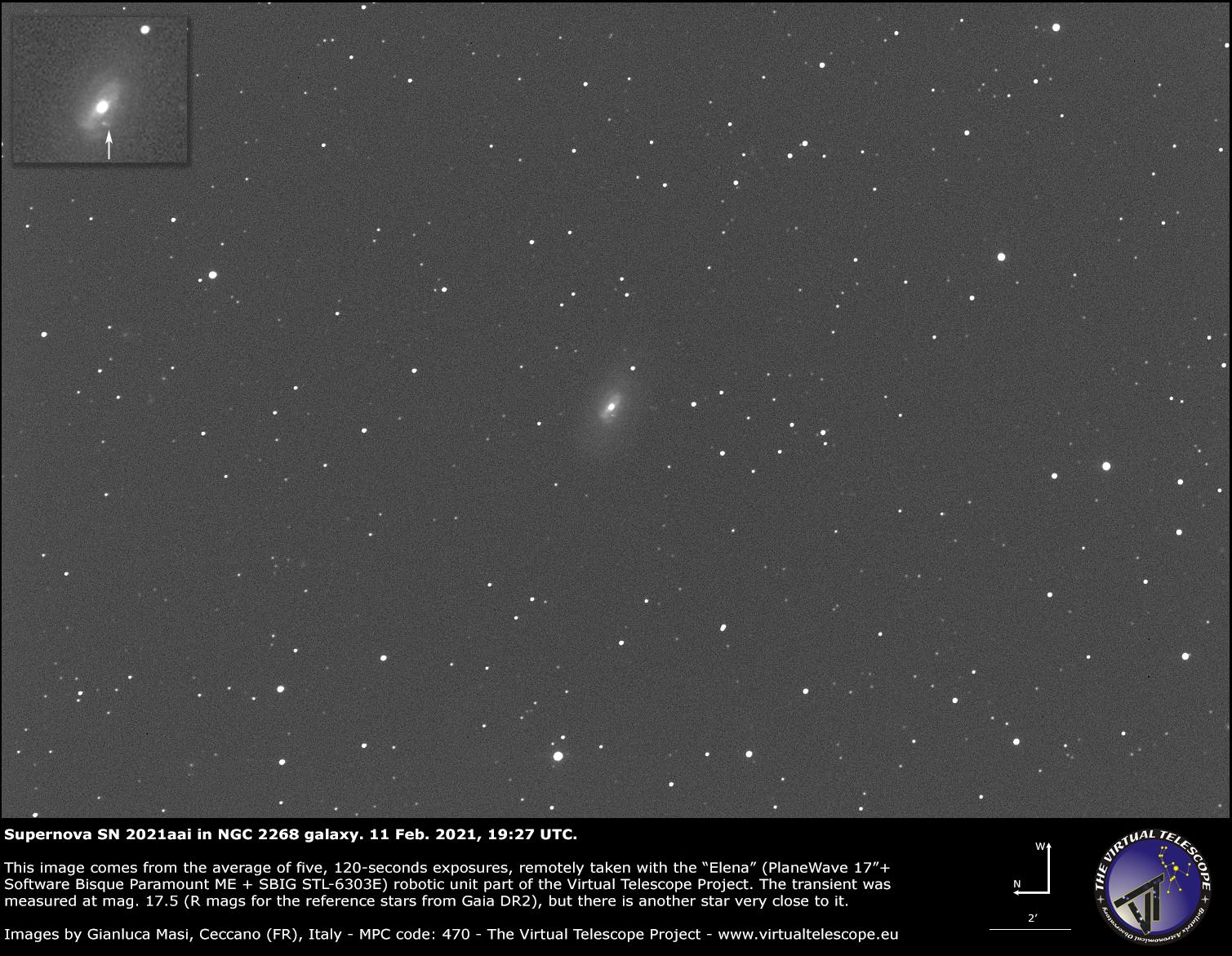 Supernova SN 2021aai in NGC 2268 galaxy: 11 Feb. 2021.