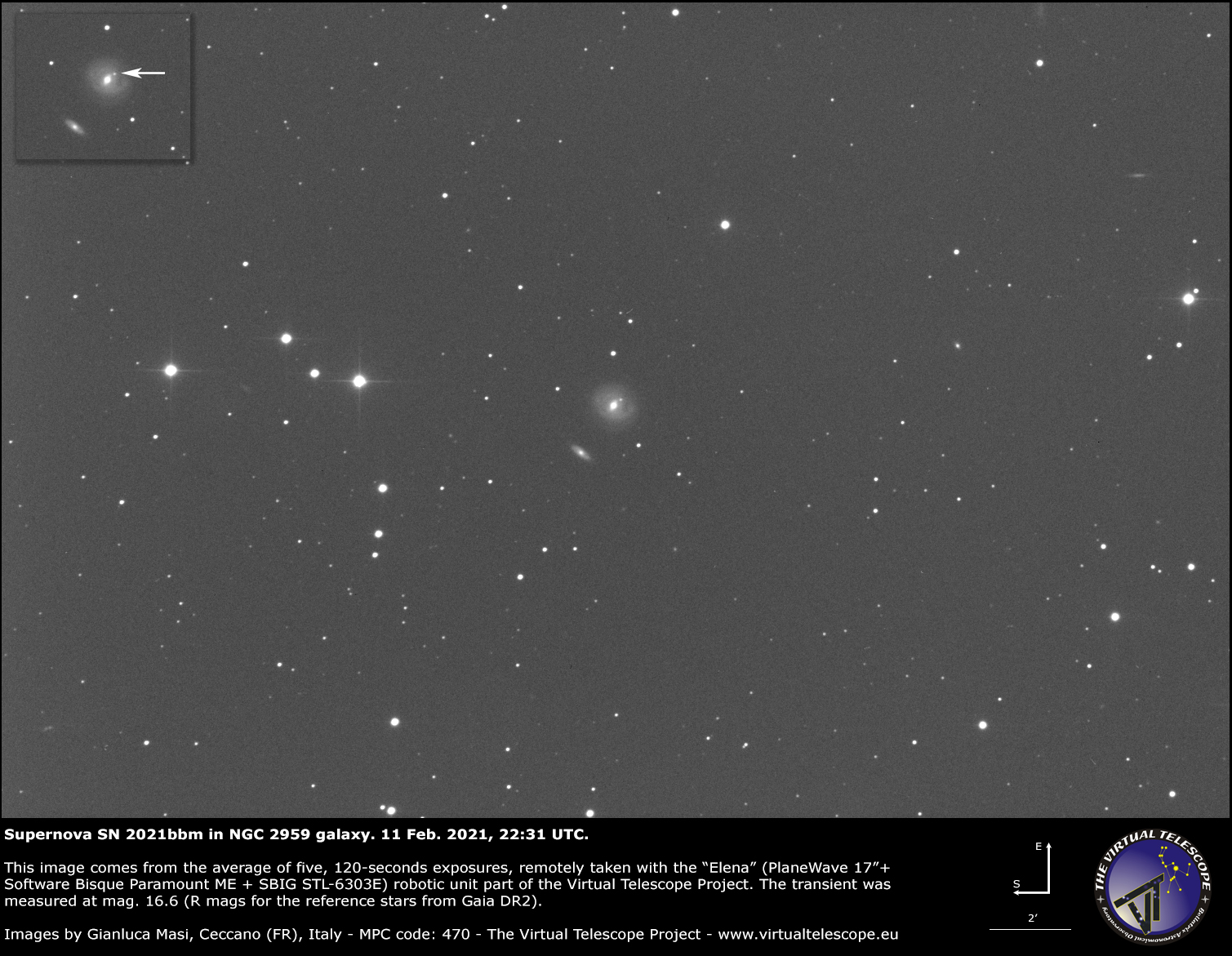 Supernova SN 2021bbm in NGC 2959 galaxy: 11 Feb. 2021.