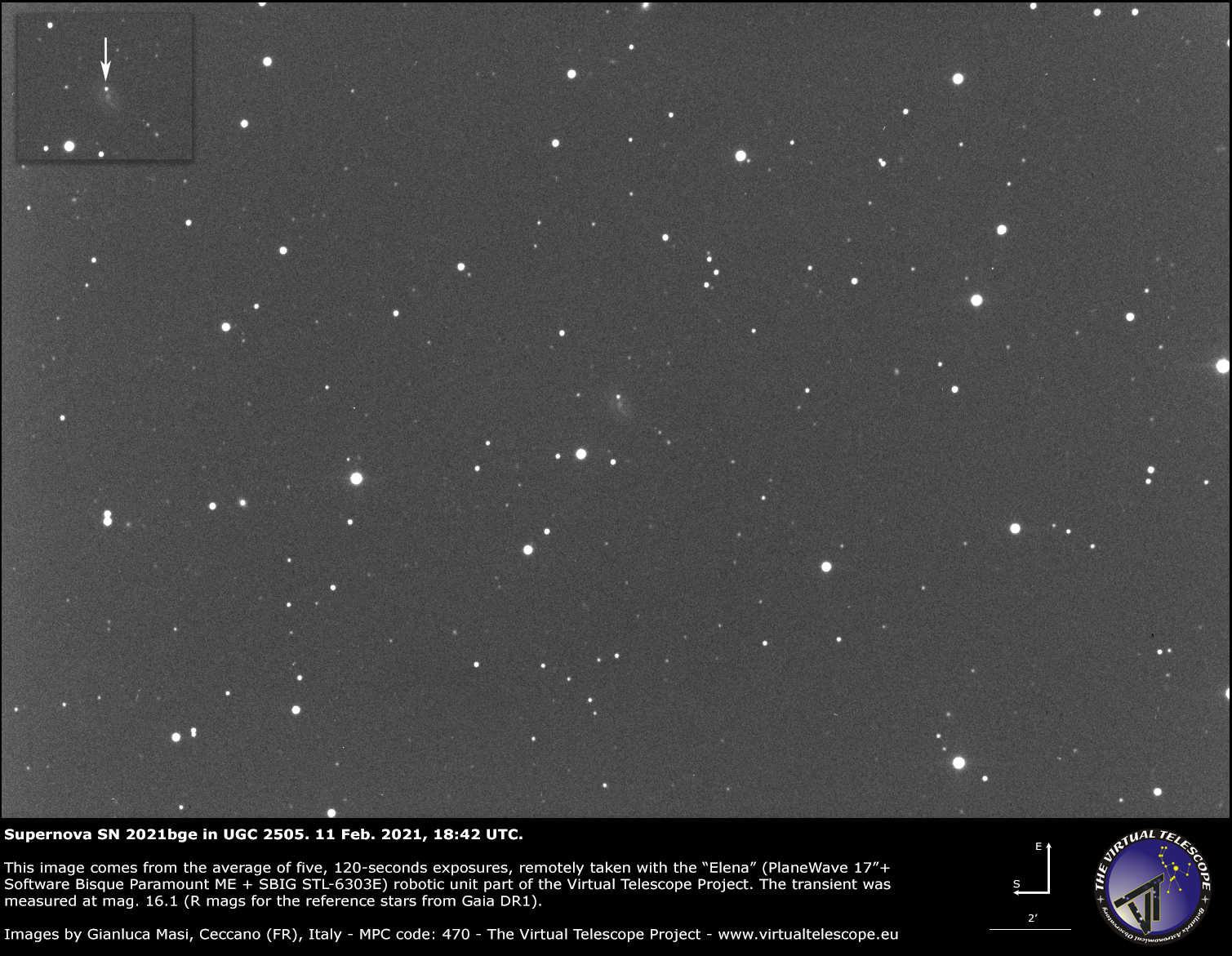 Supernova SN 2021bge in UGC 2505: 11 Feb. 2021