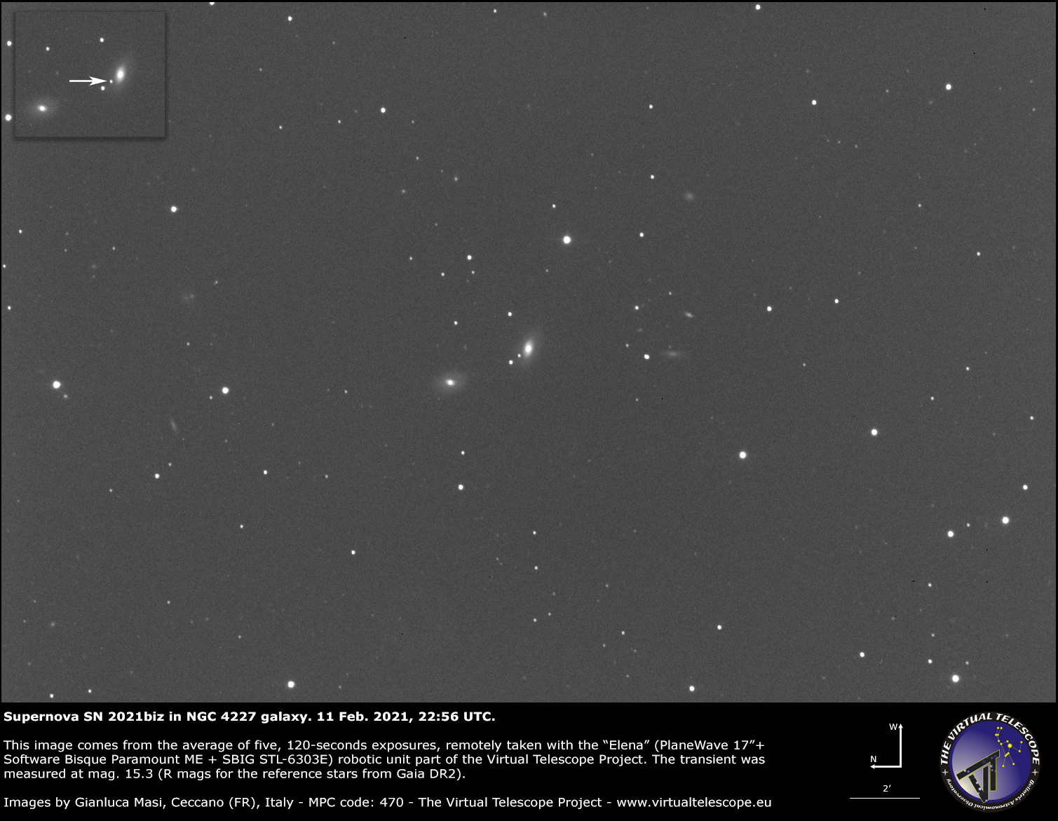 Supernova SN 2021biz in NGC 4227 galaxy: 11 Feb. 2021.