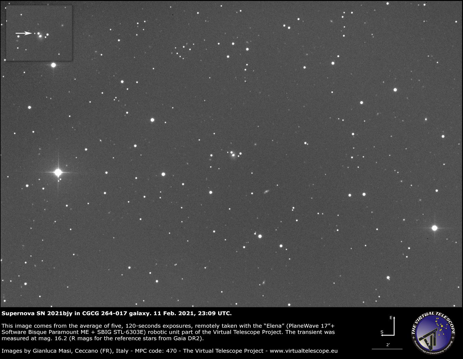 Supernova SN 2021bjy in CGCG 264-017 galaxy: 11 Feb. 2021.