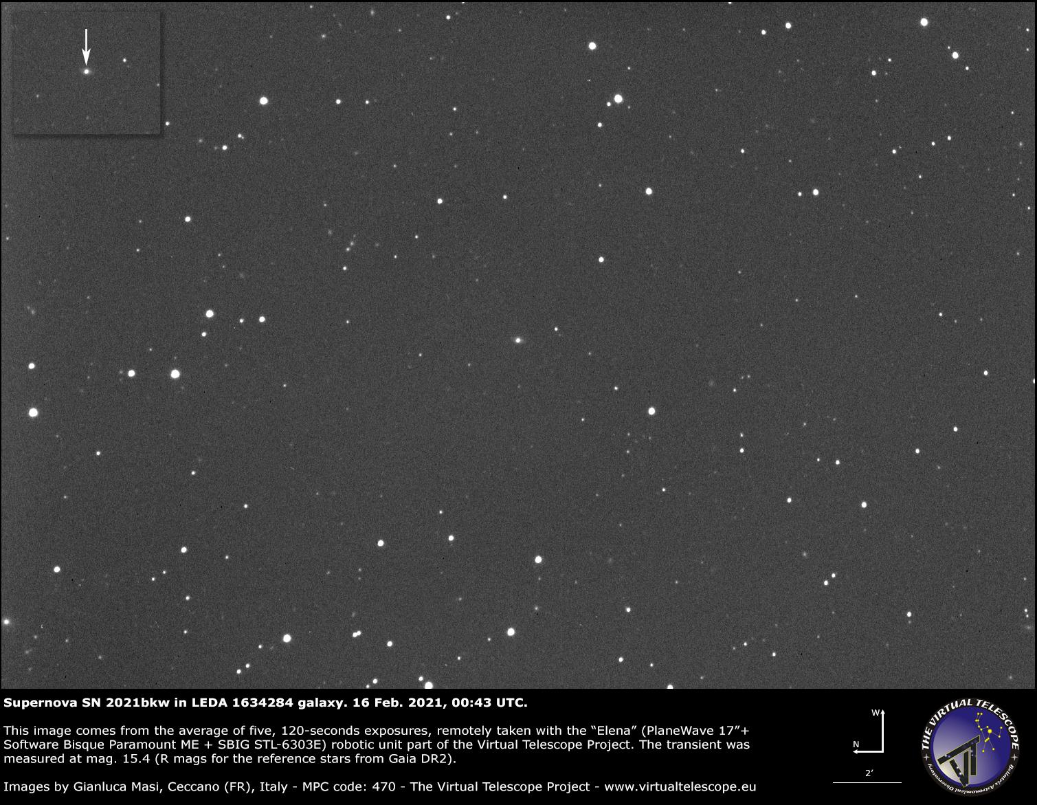 Supernova SN 2021bkw in LEDA 1634284 galaxy: 16 Feb. 2021.