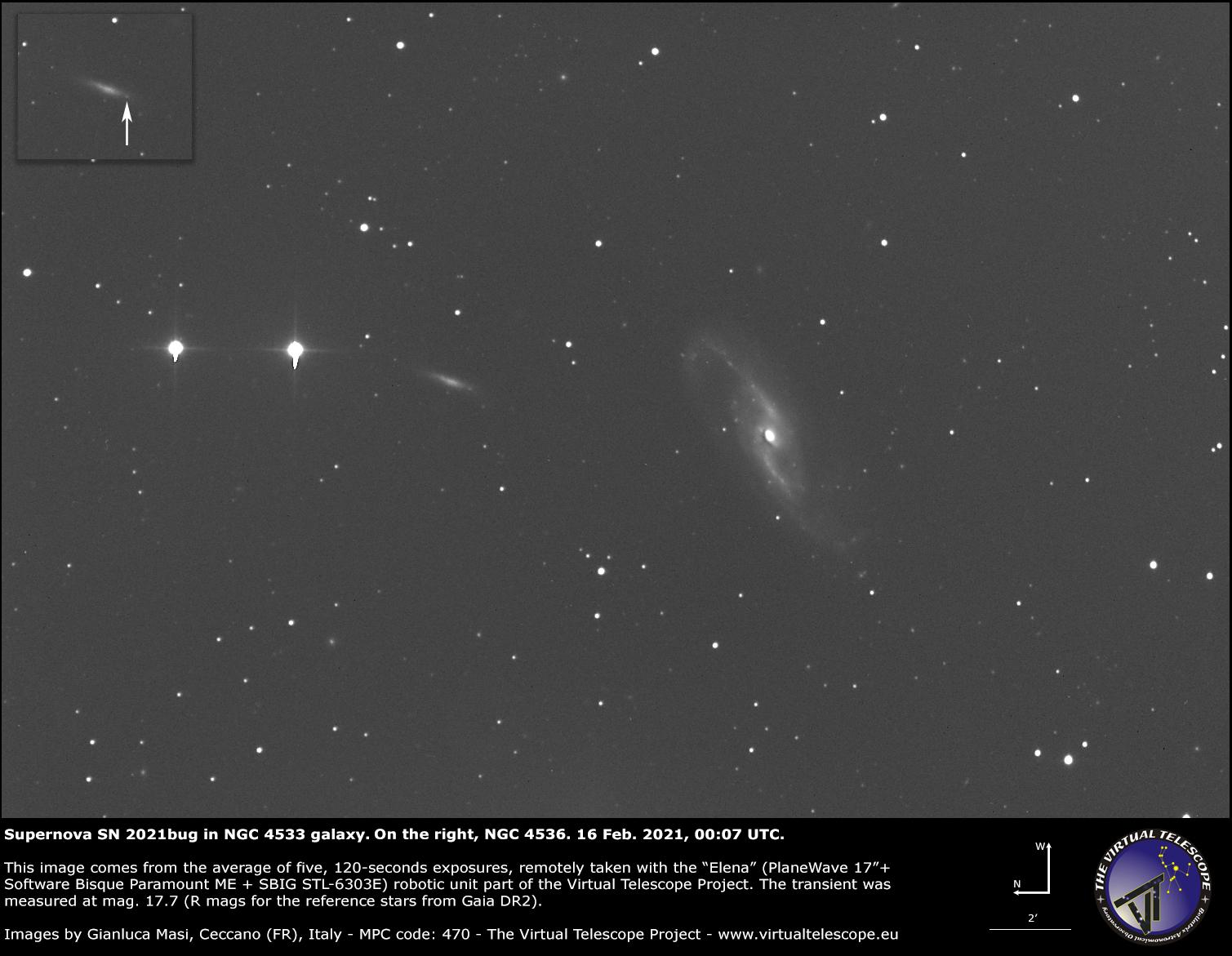 Supernova SN 2021bug in NGC 4533 galaxy: 16 Feb. 2021.