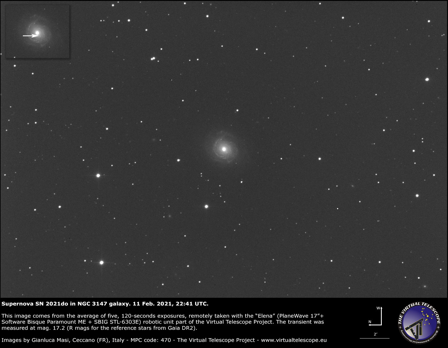 Supernova SN 2021do in NGC 3147 galaxy: 11 Feb. 2021.