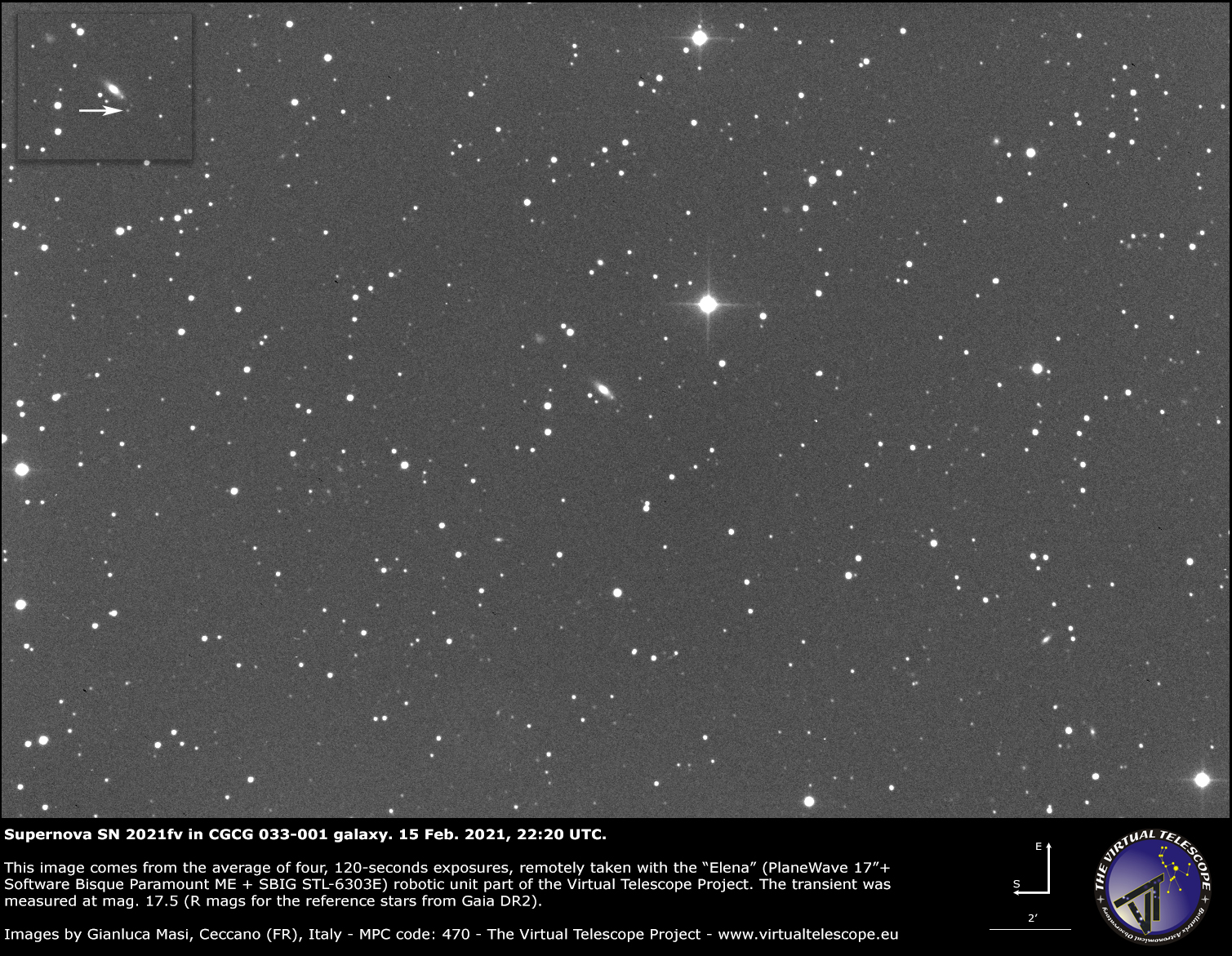 Supernova SN 2021fv in CGCG 033-001 galaxy: 15 Feb. 2021.