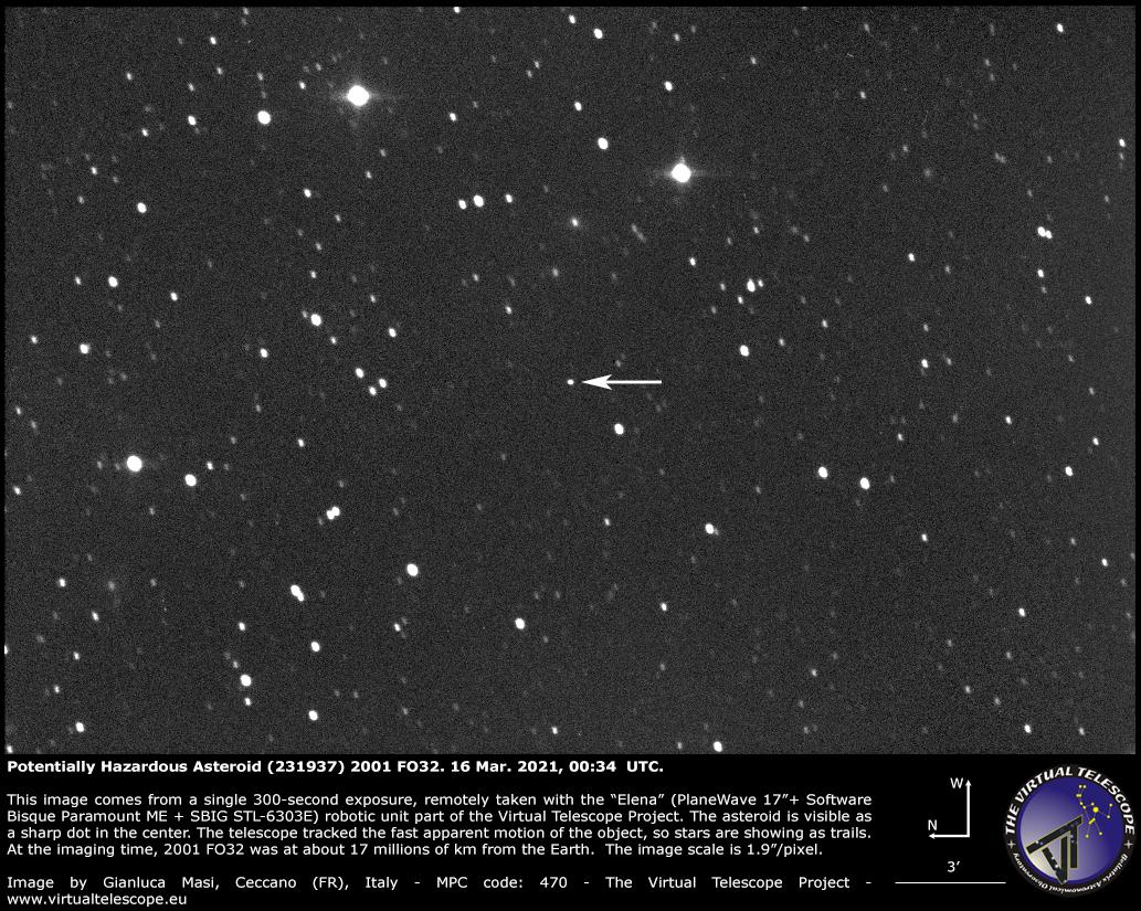 Potentially Hazardous Asteroid (231937) 2001 FO32: 16 Mar. 2021.