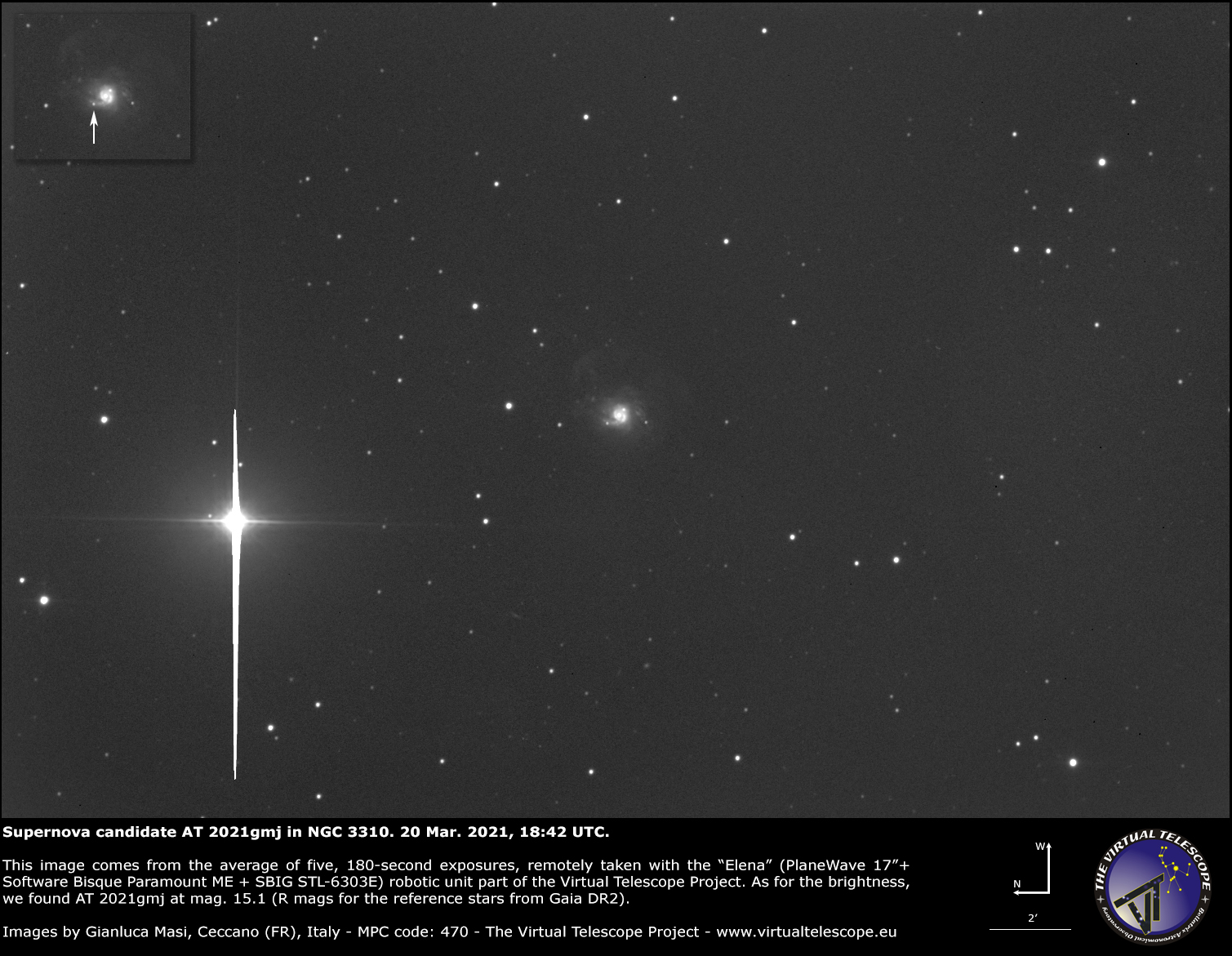 Supernova SN 2021gmj (was AT 2021gmj) in NGC 3310 galaxy: 20 Mar. 2021.