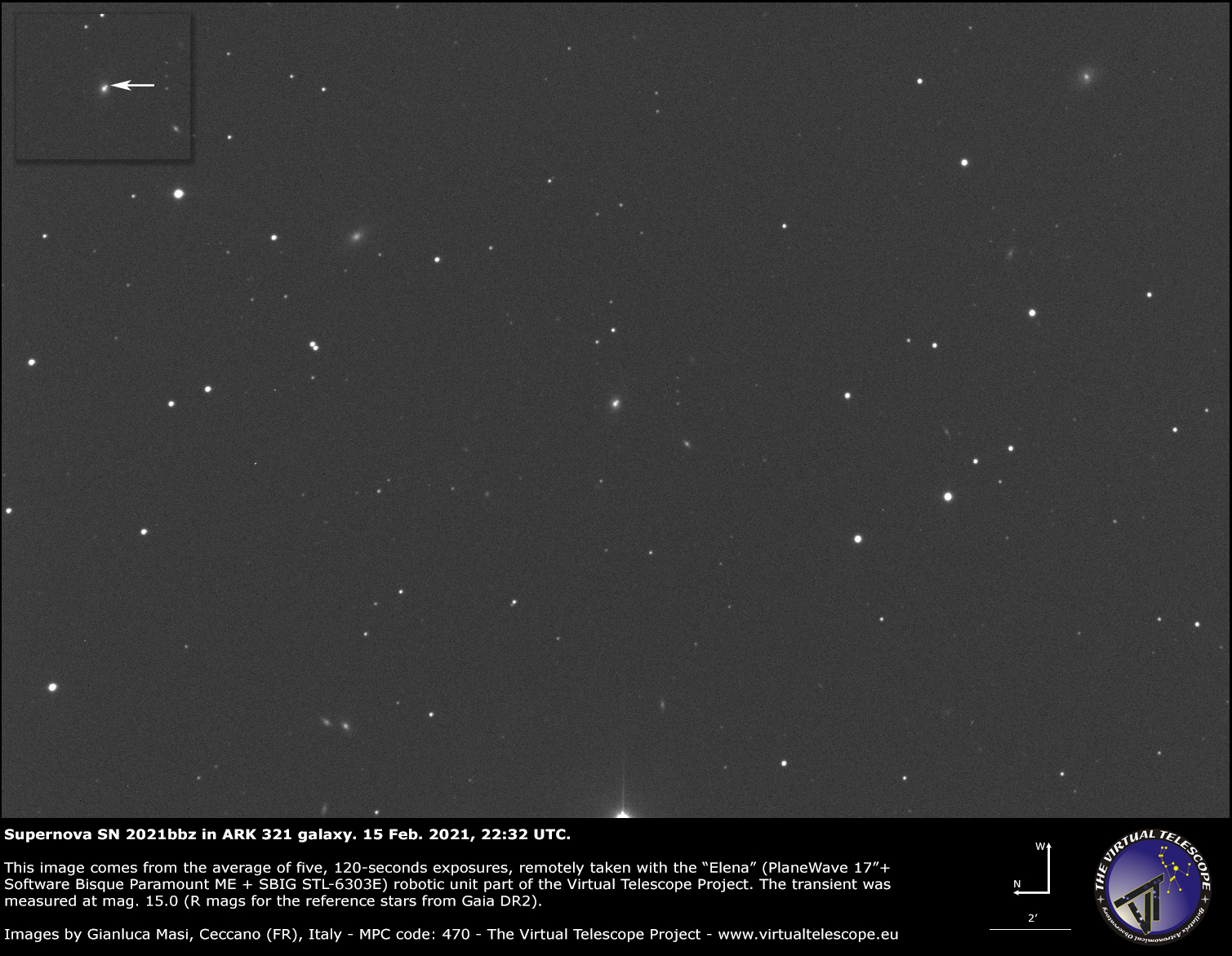 Supernova SN 2021bbz in ARK 321 galaxy: 15 Feb. 2021.