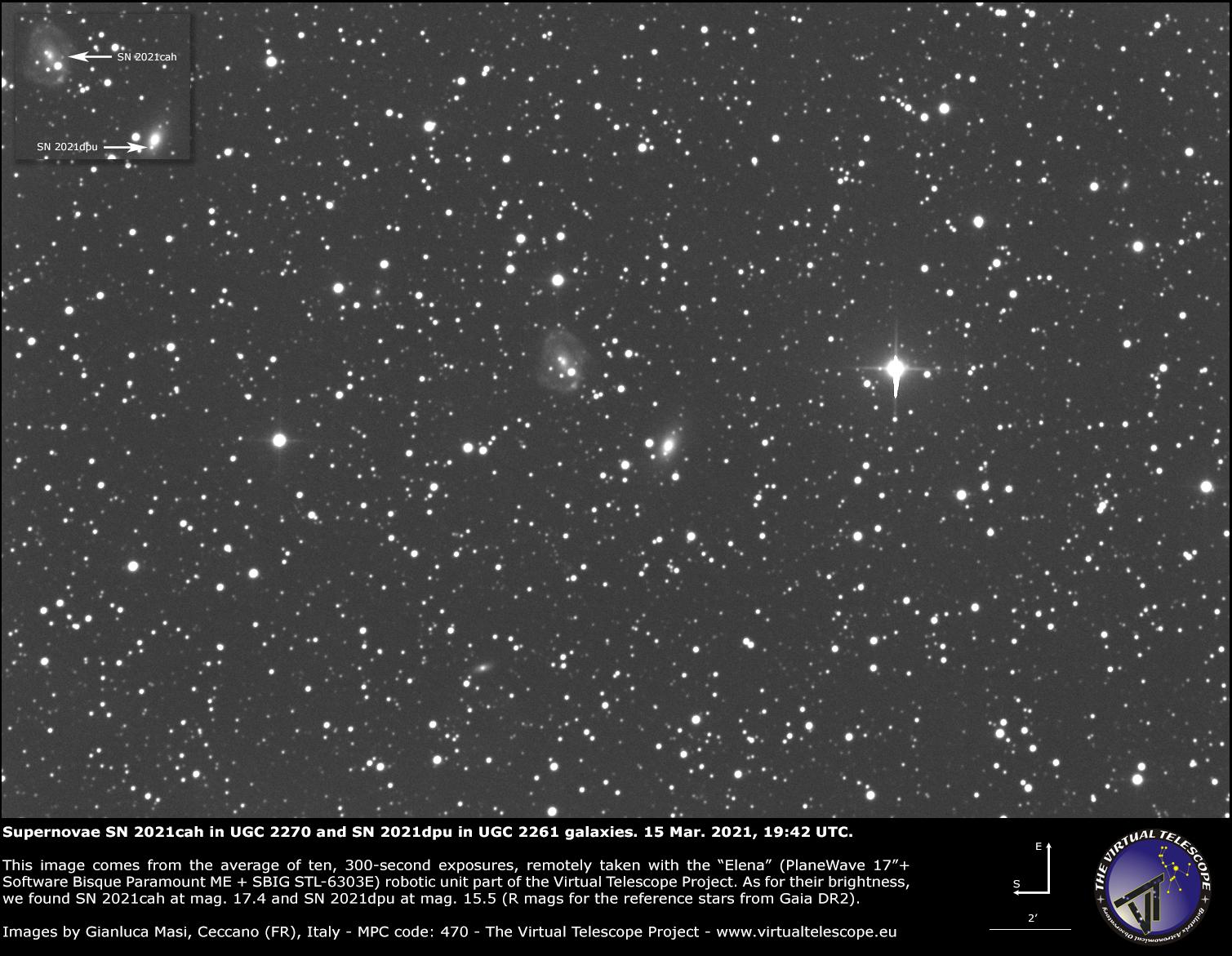 Supernovae SN 2021cah in UGC 2270 and SN 2021dpu in UGC 2261 galaxies: 15 Mar. 2021.