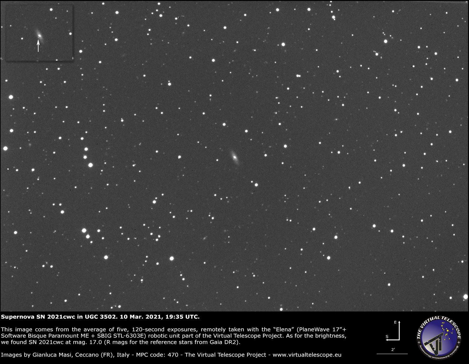 Supernova SN 2021cwc in UGC 3502 galaxy: 10 Mar. 2021.