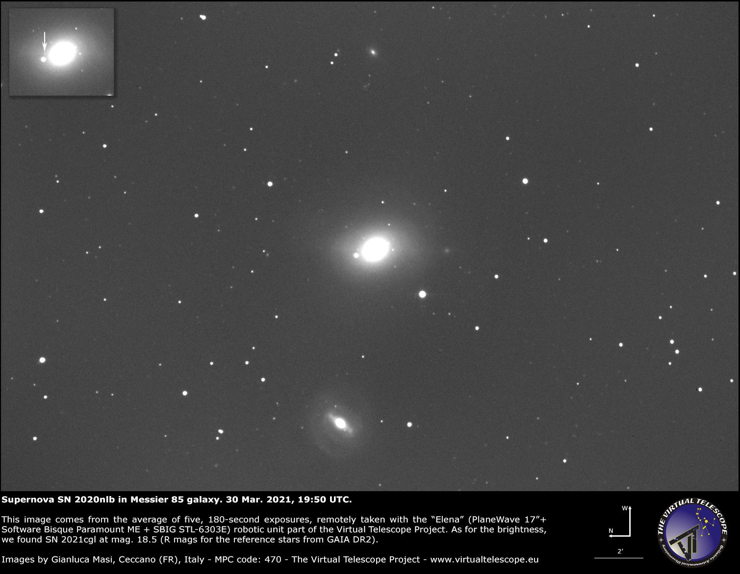 Supernova SN 2020nlb in Messier 85: an image - 30 Mar. 2021.