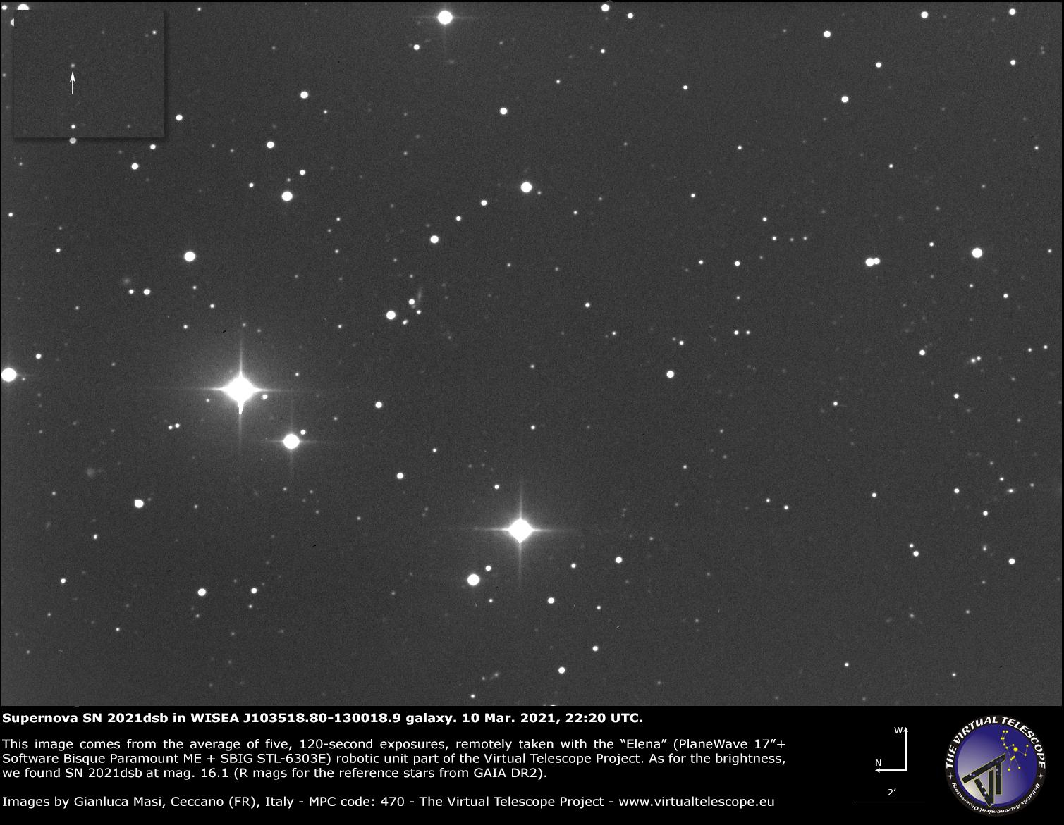Supernova SN 2021dsb in WISEA J103518.80-130018.9 galaxy: 10 Mar. 2021.