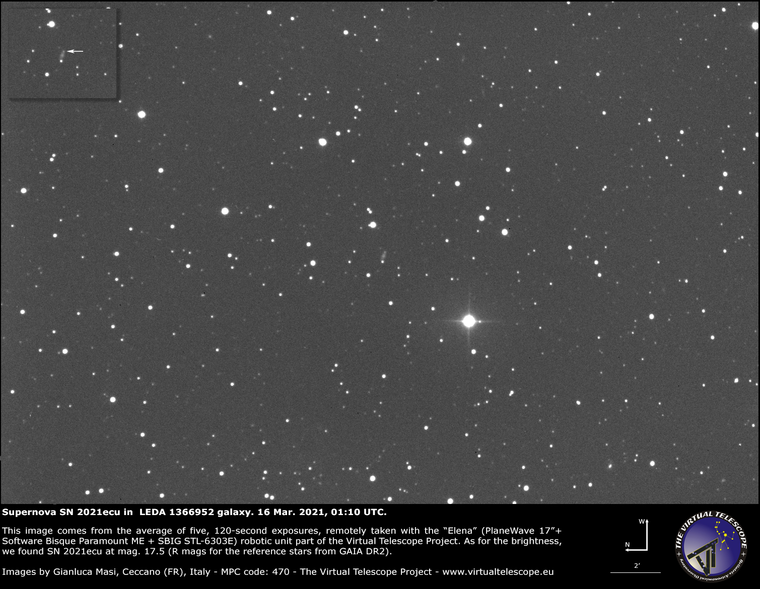 Supernova SN 2021ecu in LEDA 1366952 galaxy: 16 Mar. 2021.