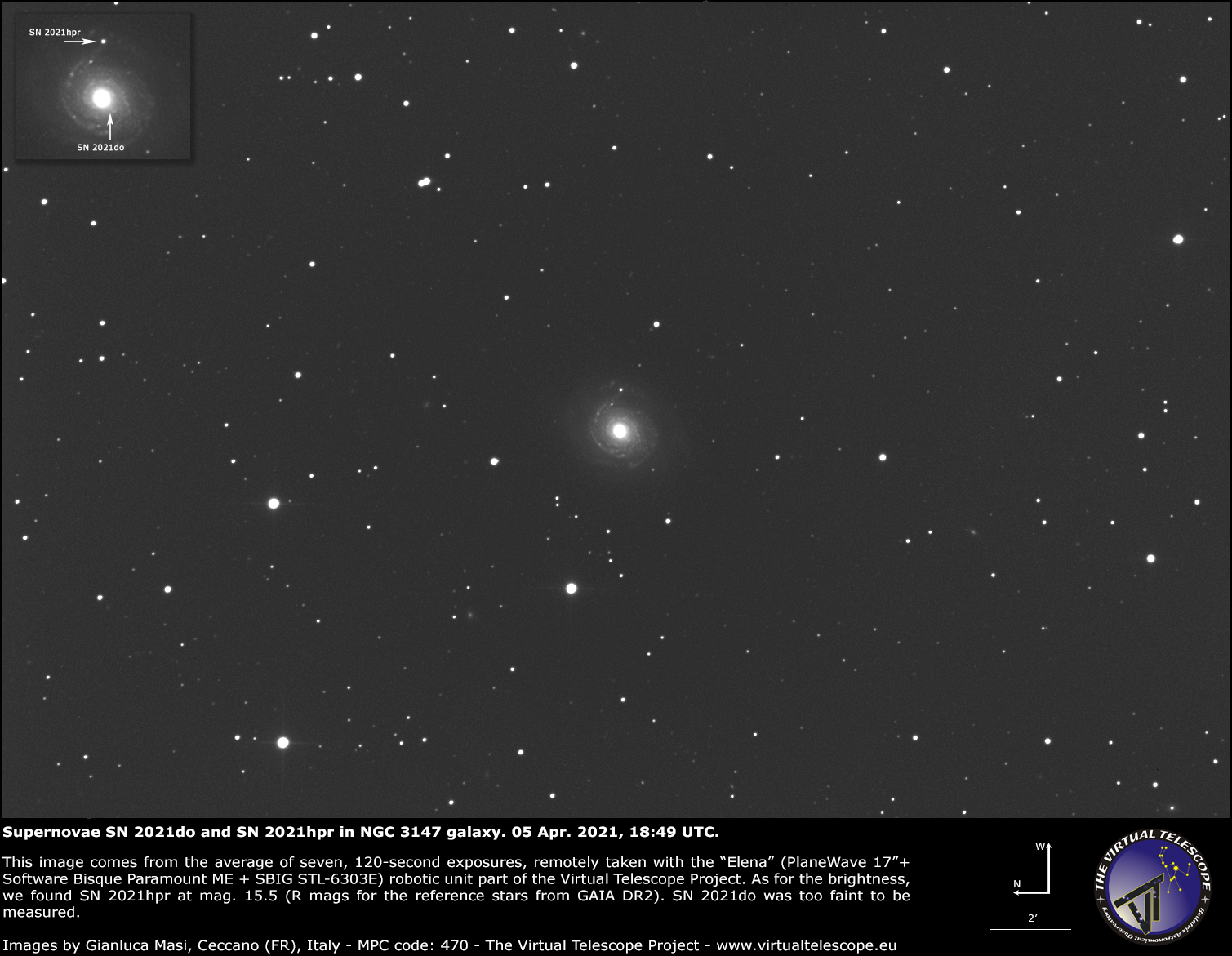 Supernovae SN 2021hpr and SN 2021do inNGC 3147 galaxy: 5 Apr. 2021.