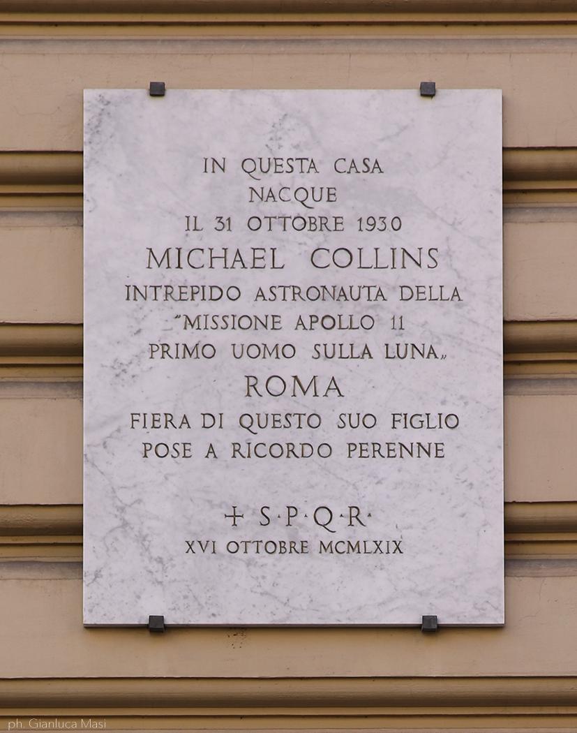 Commemorative plaque in via Tevere, 16, Rome, where Michael was born.
