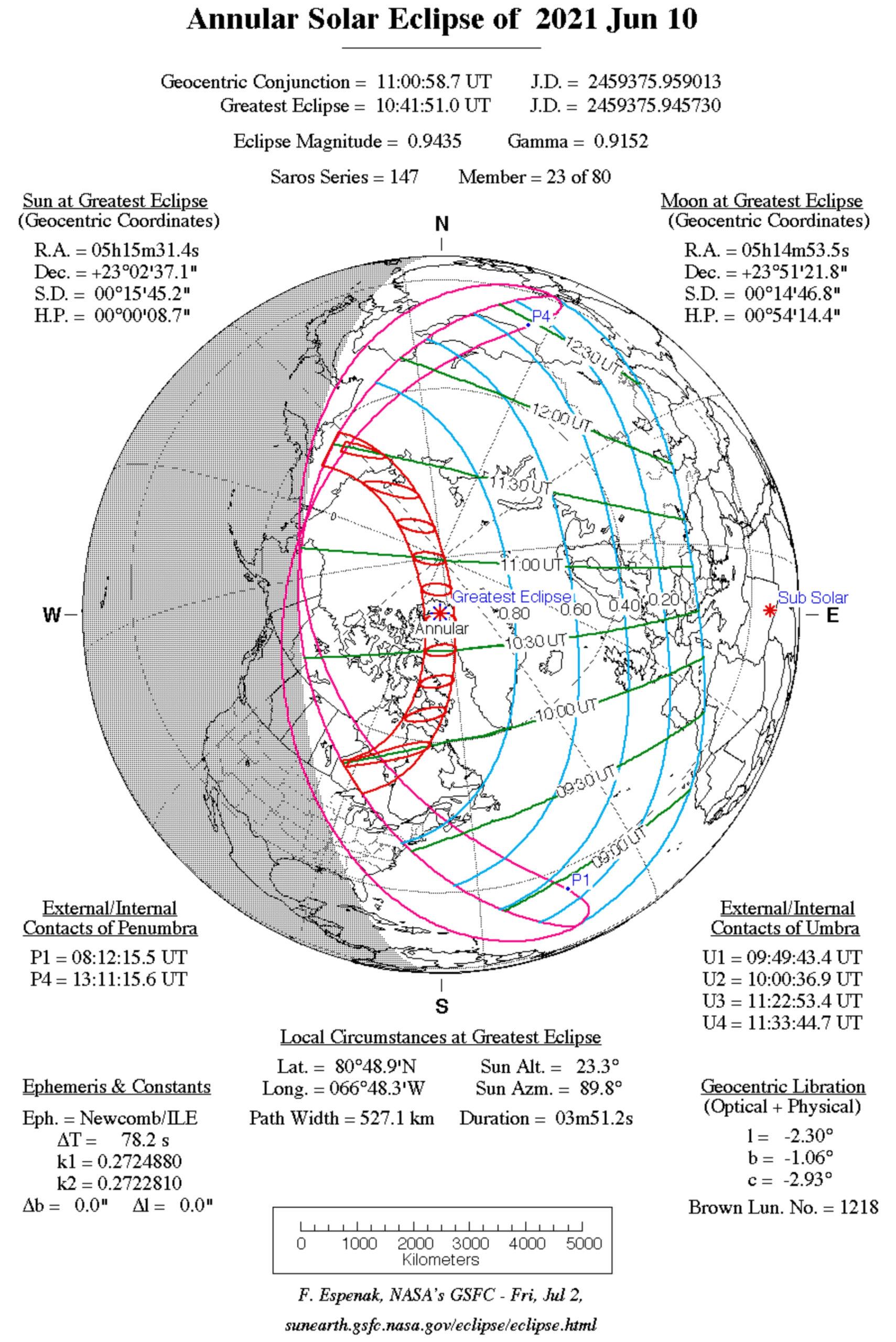 Fig. 2. 10 giugno 2021, eclissi anulare di Sole: visibilità