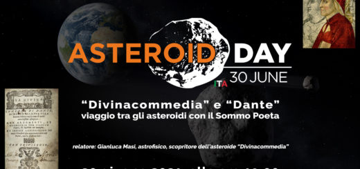 """"""" """"Divinacommedia"""" e """"Dante"""": viaggio tra gli asteroidi con il Sommo Poeta"""" - poster dell'evento"""