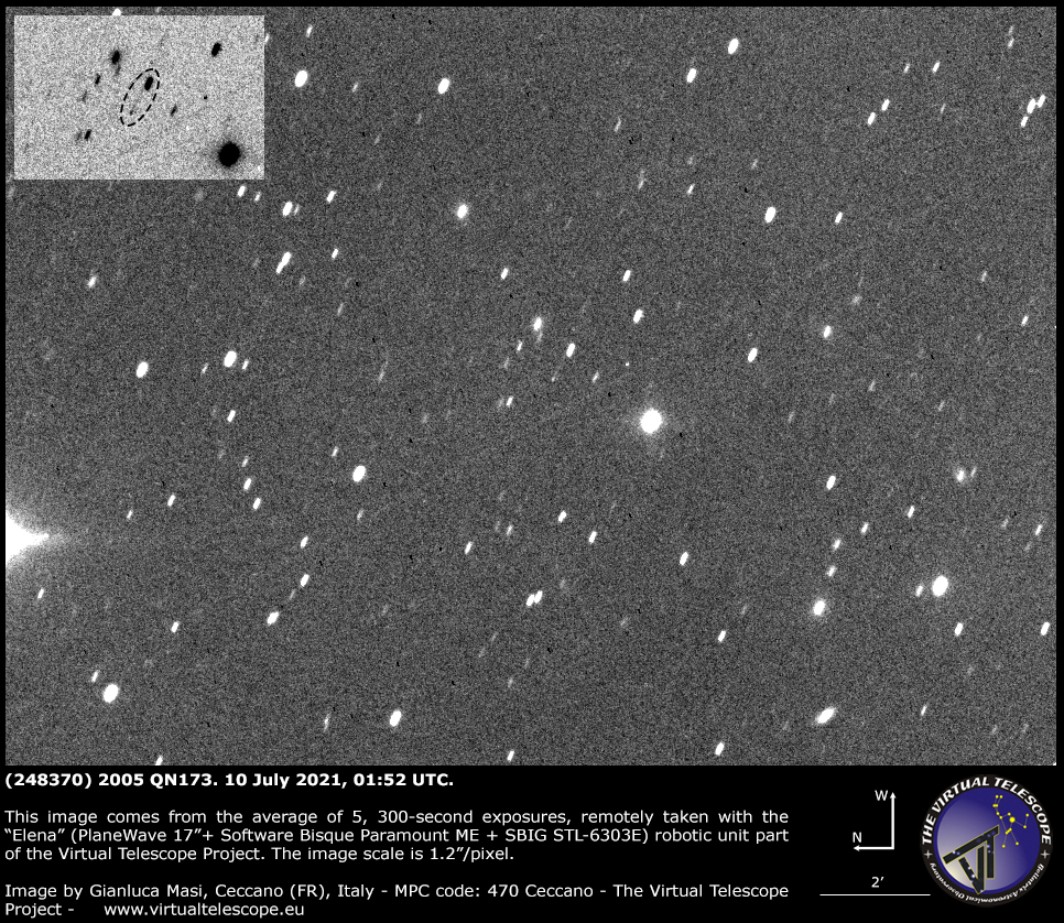 Asteroid (248370) 2005 QN173 and its faint tail - 10 July 2021