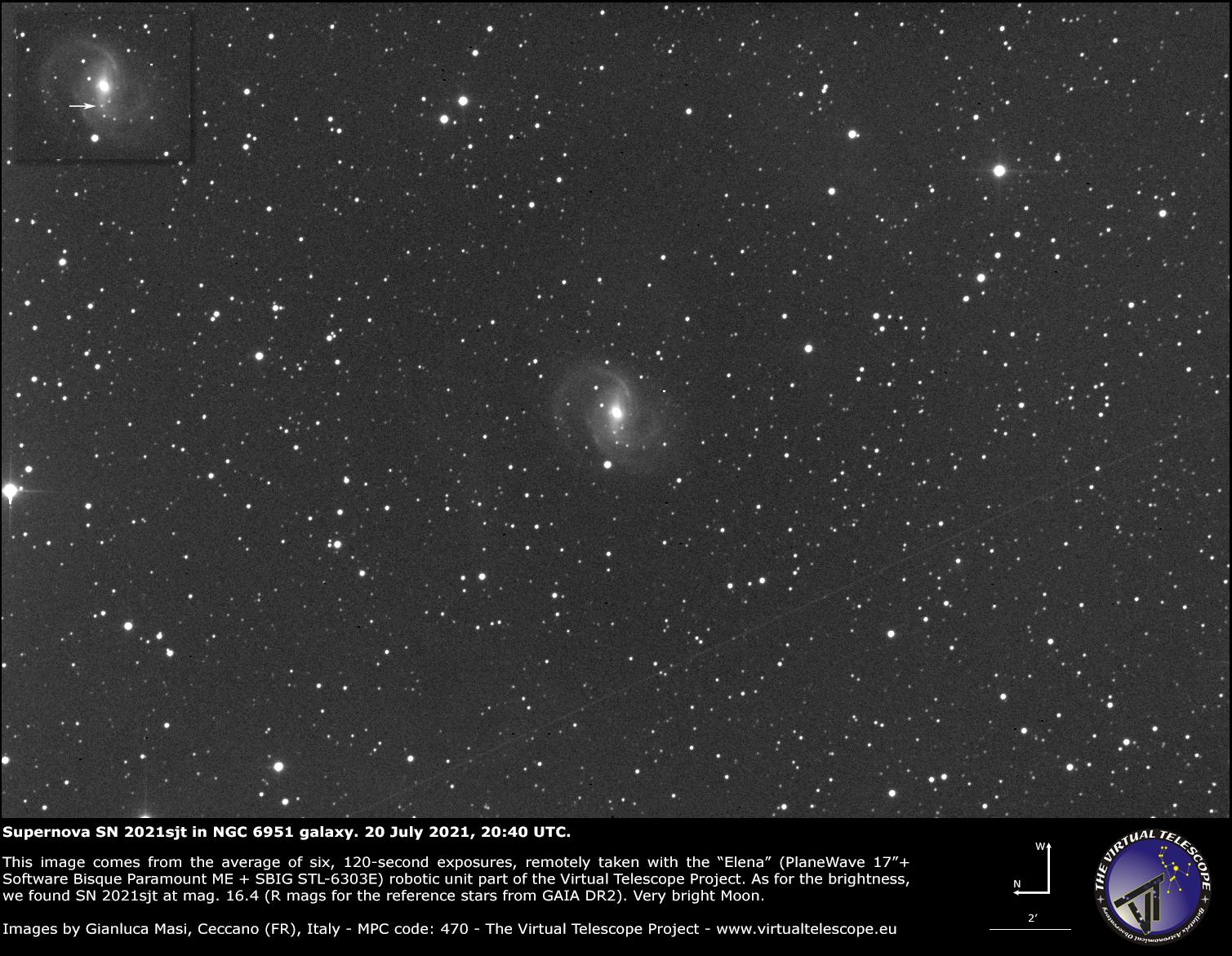 Supernova SN 2021sjt in NGC 6951 galaxy. 20 July 2021.