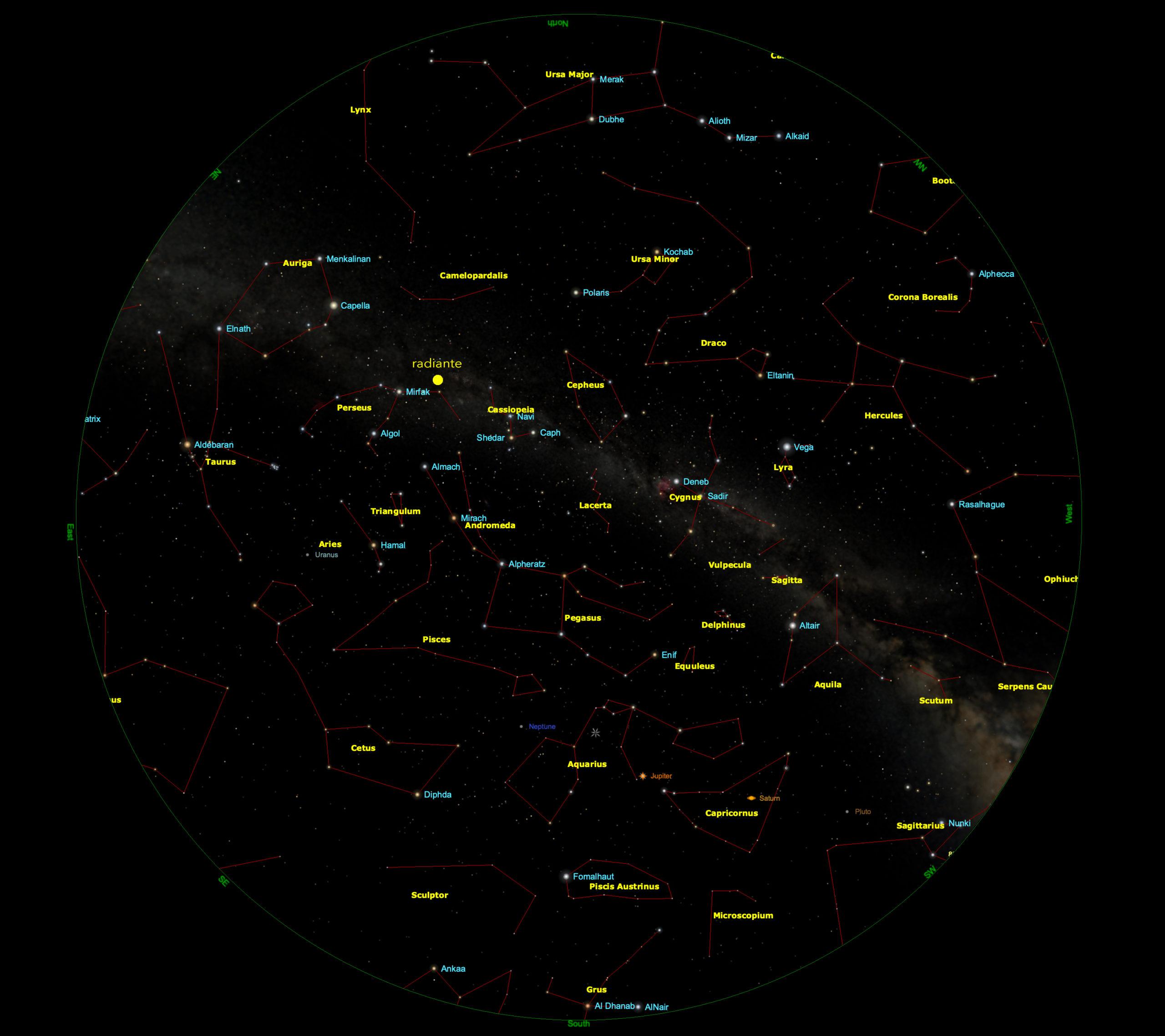 Cielo visibile il 12 agosto, alle ore 2.30 estive (con marcata la posizione del radiante)