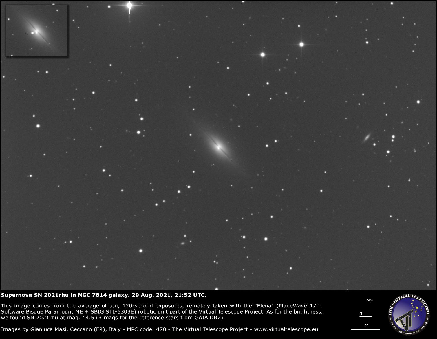 Supernova SN 2021rhu in NGC 7814 galaxy: an image - 29 Aug. 2021.