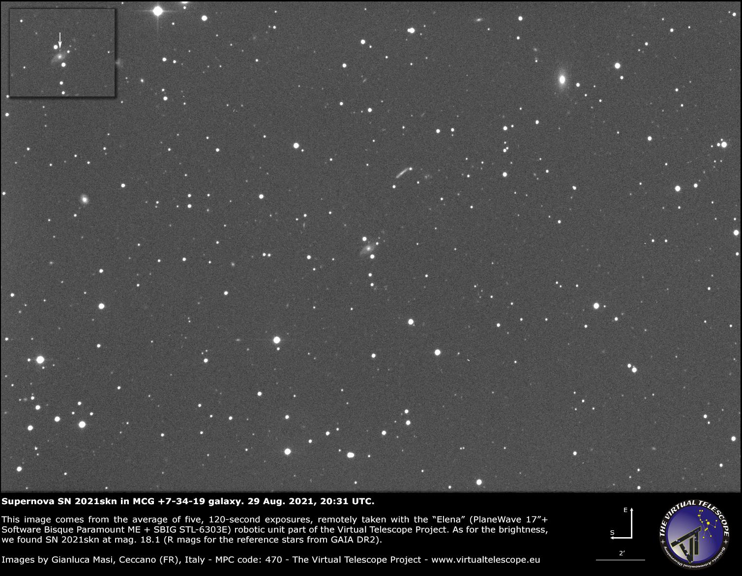 SN 2021skn in MCG +07-34-019 galaxy: 29 Aug. 2021.